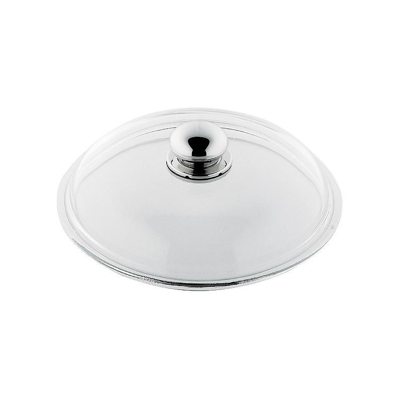 Lokk i glass Ø16 cm med håndtak i polert stål