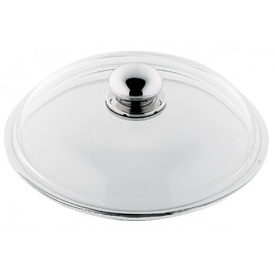 Lokk i glass Ø18 cm med håndtak i polert stål