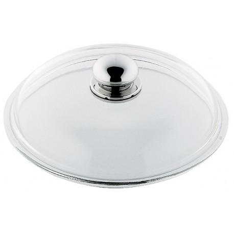 Lokk i glass Ø22 cm med håndtak i polert stål